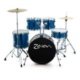 Batería Acústica Completa Zaion Club Azul Hihat14 Crash16