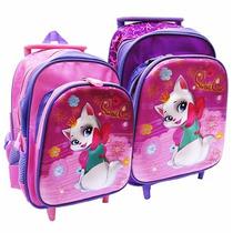 Mochila Com Rodinha Escolar 3d Feminina Gatinha 12 Rosa
