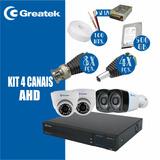 Kit Cameras + Dvr 4 Canais Marca Greatek Completo Hd 1tb