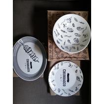 Kit Travessas Churrasco Porcelana - 3 Peças - Oxford!