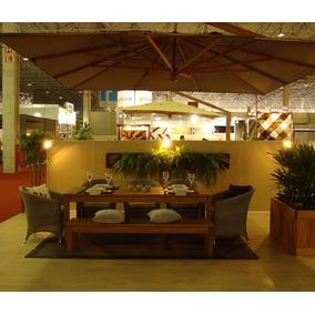 Ombrelone 100% Madeira 3m Quadrado Giratório 360 C/ Floreira
