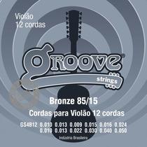 Encordoamento Violão 12 Cordas Groove Gs4b12 Bronze Aço 010