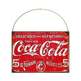 Cartel De Chapa Publicidad Bebida Coca Cola B030 20x28cm