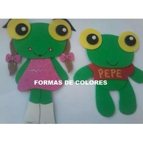 El Sapo Pepe Y Pepa En Goma Eva !!! X 8 Unidades..