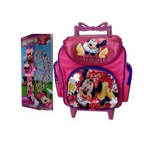 Mochila Escolar Infantil Minnie Baby Com Rodinhas + Relógio