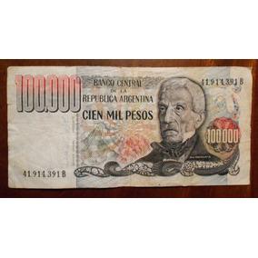 Billete De Argentina 100000 Cien Mil Pesos Ley Serie B