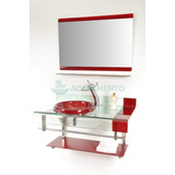 Gabinete Vidro 90 Cm Vermelho Vinho + Misturador + Kit Ace