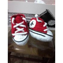 Escarpines Zapatos Tejidos Crochet Para Bebes Mano Converse