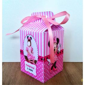 Caixinha Milk Minnie Rosa Em Papel Fotográfico De 230g