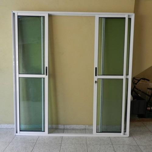 Porta Sacada 4.fls De  Alum 2.10 X 2.00 Branca L-25 C/f