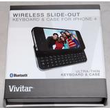 Carcasa Teclado Bluetooth Vivitar Iphone 4 Desliza Negro