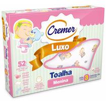 Toalha Fralda Cremer Luxo Estampa Menina - Caixa C/ 3 Unid.
