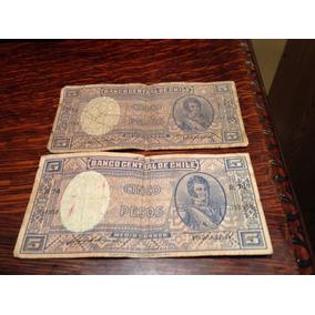 Billetes Antiguos Chilenos 2 De 5 Pesos