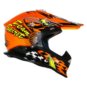 Capacete Helt Mx Bull Orange Trilha Motocross