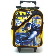 Mochila Infantil Batman 2 Bolsos Rodinhas Meninos - Boleto