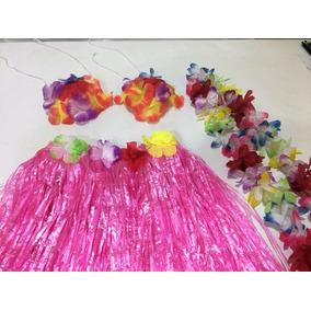 Disfraz Hawaiana Collar Pollera Corpiño Cotillón