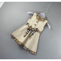 Burberry Vestido Infantil Bege Com Xadrez Sem Manga