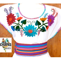 Hermosa Blusa De Chiapas Bordada A Mano / Manta / Talla 2xl