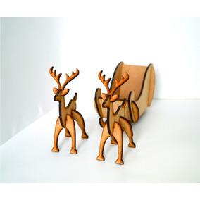 Paquete Renos Y Trineo De Navidad