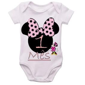 Kit 12 Body Infantil Mês A Mês Mesversario Minnie