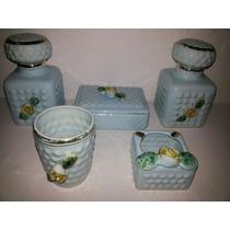 Juego De Toilette Antiguo,cerámica Celeste Y Bellas Rosas!