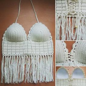 Top Tejido Al Crochet Con Taza Soft Hilo Peruano ¿
