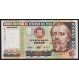 Billete Peru 100000 Intis , 1989 , Serie Ai