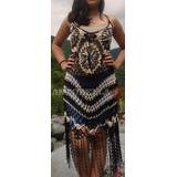 Vestido Playa Tejido Crochet Artesanal Salteño Fiesta Seda