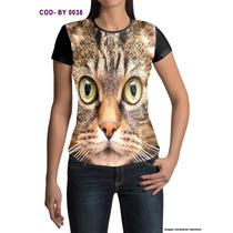 Camisetas Personalizadas Estampa Digital Gato 3d