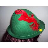 Chapéu Péter Pan Verde Com Pena Vermelha
