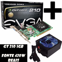 Placa Vídeo Geforce Gt210 Nvidia 1gb Ddr3 Hdmi + Fonte 420w
