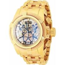 Relógio Invicta 13757 Zeus Dourado Azul Skeleton Original +