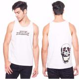 Remera Musculosa No Fear Blanca Logo Y Calavera En Espalda