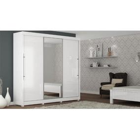Guarda - Roupa Gênesis Com Porta De Espelho Branco Gelius