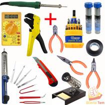 Kit Ferramenta Eletrônica Completo Soldador 30w 50 Peças