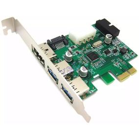 Placa Pci-e X1 Com 3 Portas Usb 3.0 (5gbps) E 1 E-sata 20pin