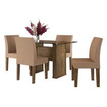 Mesa De Jantar Com 4 Cadeiras Europa Imbuia - Rv Móveis