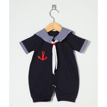Macacão Curto Marinheiro Azul - Verão - Enxoval Bebê Menino
