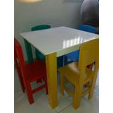 Mesa Infantil C/ 4 Cadeira Em Mdf Pintado C/ Frete Gratis