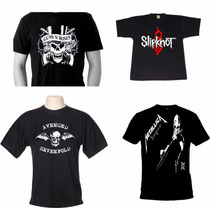 Kit 3 Camisetas Bandas Rock Engraçadas Super Heróis