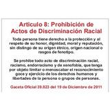Señalización Articulo 8 Discriminacion Racial 22x32 Cm