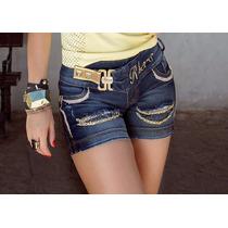 Short Rhero Jeans Feminino Estilo Pitbull Com Bojo Removível