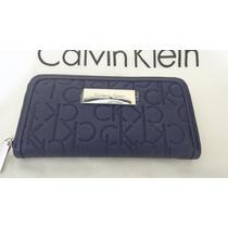 Carteira Calvin Klein Feminina Cor Azul Marinho100% Original