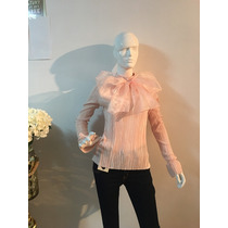 Blusa Color Salmon Con Moño