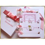 Livro Do Bebê Menina Álbum De Fotos Scrapbook Rosé