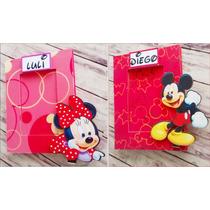 Portaretratos Souvenirs Mickey Minnie C/vidrio 6x9 Cm X10u