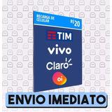 Recarga Celular Crédito Online Oi Claro Tim Vivo R$ 20,00