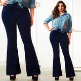 Calça Jeans Plus Size Feminina Flare Cós Alto Levanta Bumbum