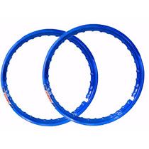 Par Aro Moto Aluminio Cor Azul Medidas 18x185+18x215
