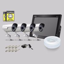Kit Dvr Stand Alone Monitor 4 Canais Intelbras 4 Camera Sony